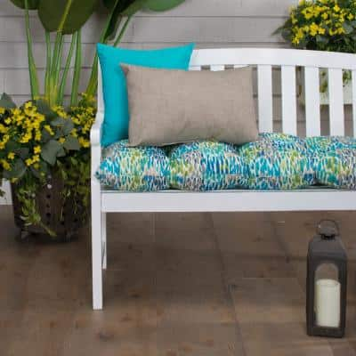 44 in. x 18.5 in. x 6 in. Peacock Feathers Tufted Rectangular Outdoor Loveseat Cushion in Blue