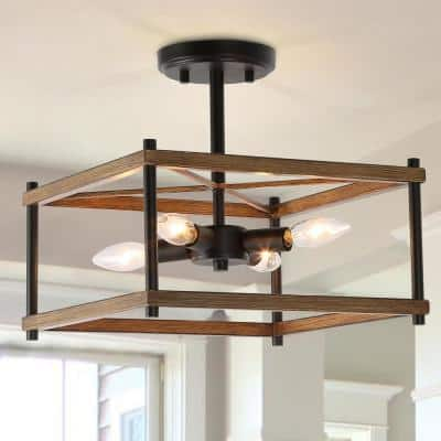 Eniso Open Square Cage 12.5 in. 4-Light Black Modern Rustic Semi Flush Mount Ceiling Light with Painted Wood Accents