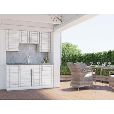 Sanibel Whitewash 22-Piece 67.25 in. x 84 in. x 25 in. Outdoor Kitchen Cabinet Set