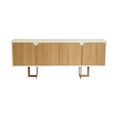 Javitz 71.25 in. Cinnamon And Off White Modern Sideboard with 6-Shelves