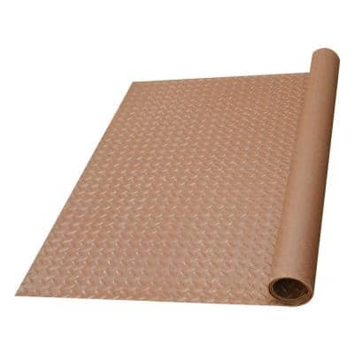 Diamond-Plate Rubber Flooring Brown 36 in. W x 300 in. L Rubber Flooring (75 sq. ft.)