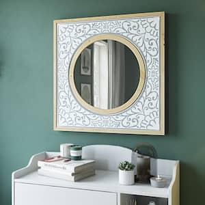 Medium Round Natural Wood Finish Modern Mirror (32 in. H x 32 in. W)