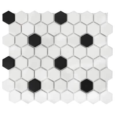 Restore Matte Black and White Hexagon 12 in. x 14 in. x 6.35 mm Glazed Ceramic Mosaic Tile (1 sq. ft./Each)