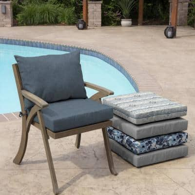 21 in. x 17 in. 2-Piece Deep Seating Outdoor Lounge Chair Cushion in Denim Alair Texture