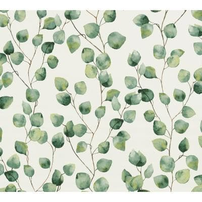 Strippable Hedera Green Painterly Vine Wallpaper