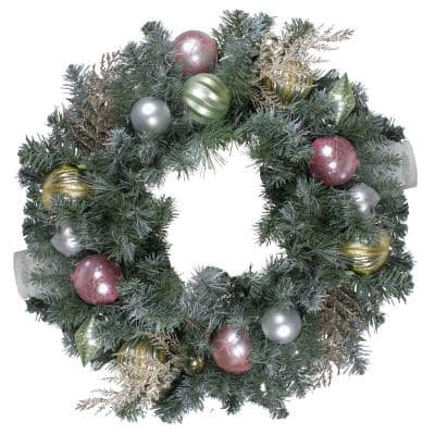 24 in. Unlit Pre-Decorated Pink and Gold Ornaments Frosted Artificial Christmas Wreath