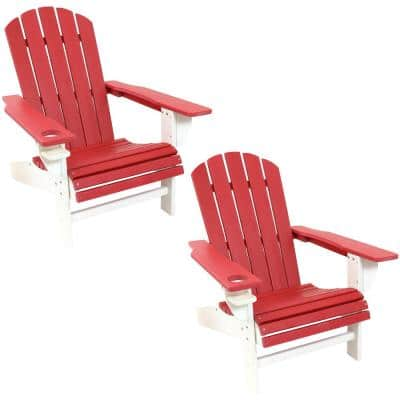 All–Weather Red/White Plastic Adirondack Chair with Drink Holder (2-Pack)