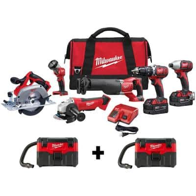 M18 18-Volt Lithium-Ion Cordless Combo Tool Kit (6-Tool) with Two M18 Wet/Dry Vacuums