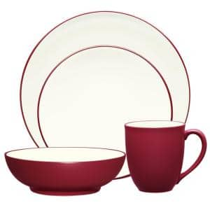 Colorwave Raspberry Red Stoneware Coupe 4-Piece Place Setting (Service for 1)
