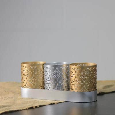 9 in. Metallic Silver and Gold Trio with Tray Votive Floral Candle Holders