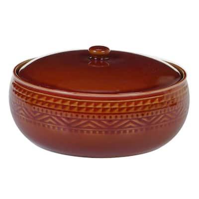 Multi-Colored 88 oz. Aztec Rust Bean Pot