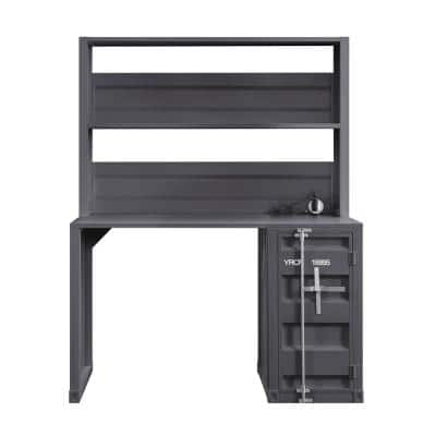 47 in. Rectangular Gunmetal 1 Drawer Writing Desks with Hutch