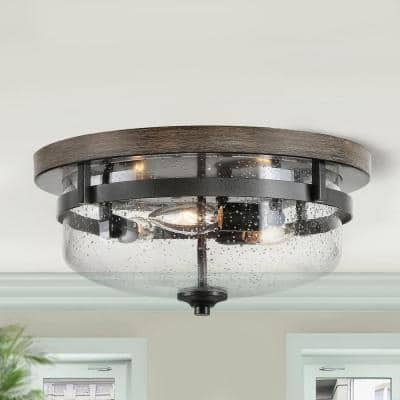 Morice 13.5 in. 3-Light Bronze Modern Farmhouse Ceiling Flush Mount Lights with Aged Oak Painted Walnut Wood Accents