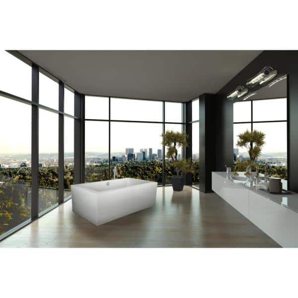 Hydro Systems Chagall 6 Ft Acrylic Flatbottom Non Whirlpool Freestanding Bathtub In White Mch7238ato Whi The Home Depot