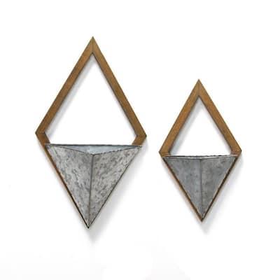Diamond Wood and Metal Wall Planters (Set of 2)