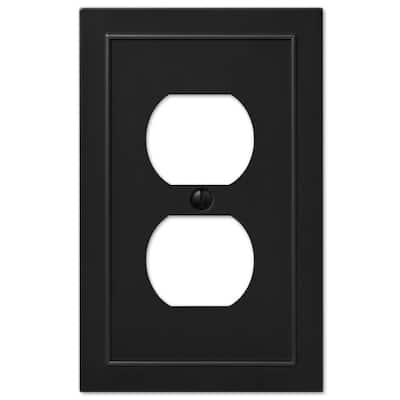 Bethany 1 Gang Duplex Metal Wall Plate - Black