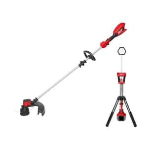 M18 18-Volt Lithium-Ion Brushless Cordless String Trimmer Kit with 6.0 Ah Battery, Charger and M18 Rocket Tower Light