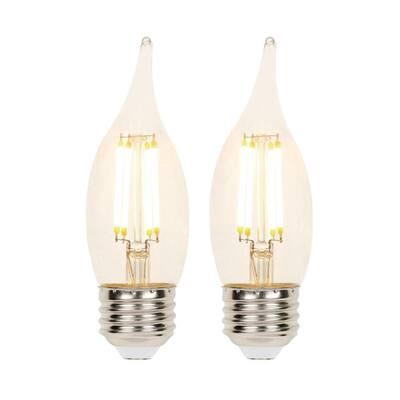40-Watt Equivalent CA11 Dimmable Filament LED Light Bulb Soft White Light (2-Pack)