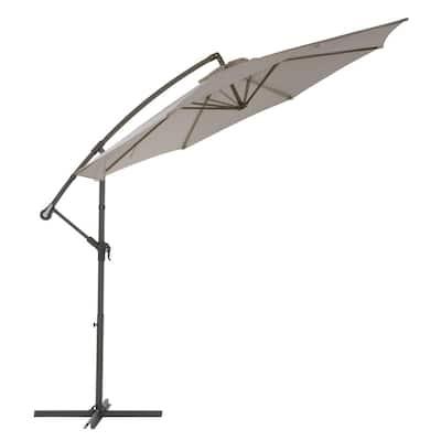 9.5 ft. Steel Cantilever UV Resistant Offset Patio Umbrella in Sand Grey