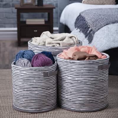 Kelton Transitional 3-Piece Nesting Storage Basket Set in Grey,White Multi Braided Fabric