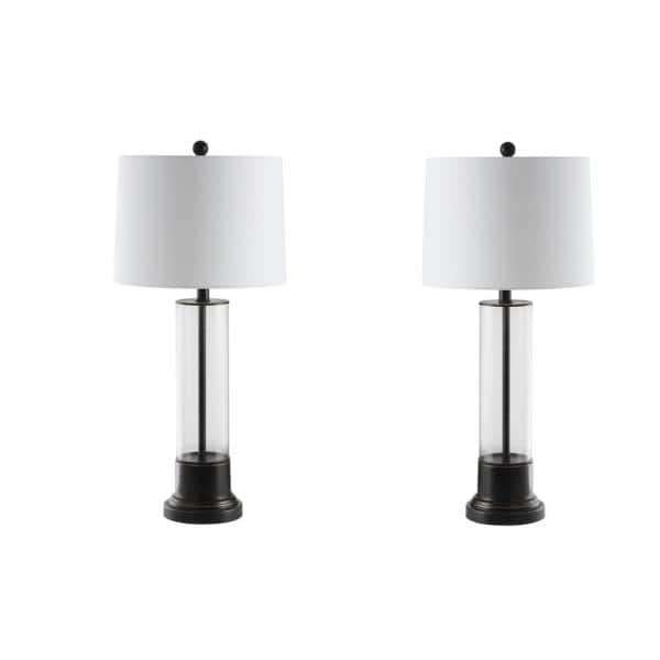 Safavieh Jayse 30 5 In Black Clear Cylinder Table Lamp With White Shade Set Of 2 Tbl4123a Set2 The Home Depot