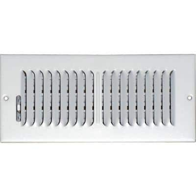 10 in. x 4 in. Ceiling/Sidewall Vent Register, White with 2-Way Deflection
