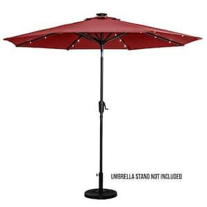 9 ft. Round Solar Lighted Market Umbrella- Scarlet