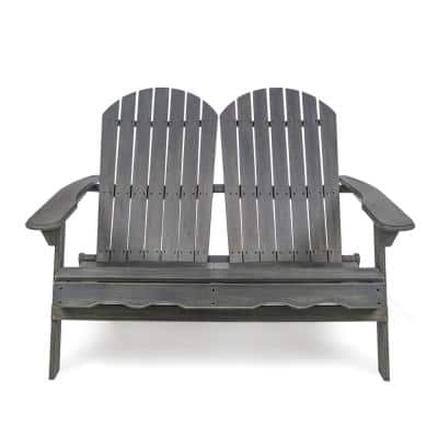 Malibu Dark Grey 1-Piece Wood Outdoor Loveseat