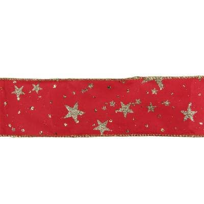 2.5 in. x 16 yds. Metallic Gold Glitter Stars on Bright Red Wired Craft Ribbon