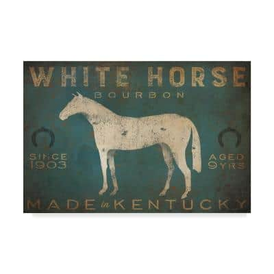 White Horse With Words Blue by Ryan Fowler Animal Wall Art 22 in. x 32 in.