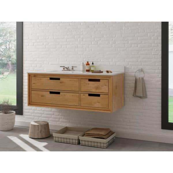 Home Decorators Collection Vinespring 48 In Wx22 In D Single Wall Hung Bath Vanity In Wood Tone With Marble Vanity Top In White With White Sink Md V002 48 The Home Depot