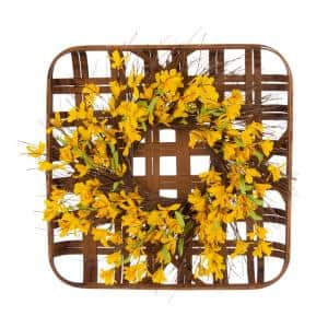 24 in. Dia Artificial Winter Jasmine Wreath with 24 in. L Bamboo Tobacco Basket