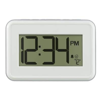 Digital White Wall Clock with Temperature and Countdown Timer