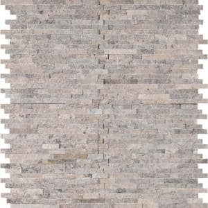 Silver Split Face 11.81 in. x 12.4 in. x 10 mm Textured Travertine Mosaic Tile (10.2 sq. ft. / case)