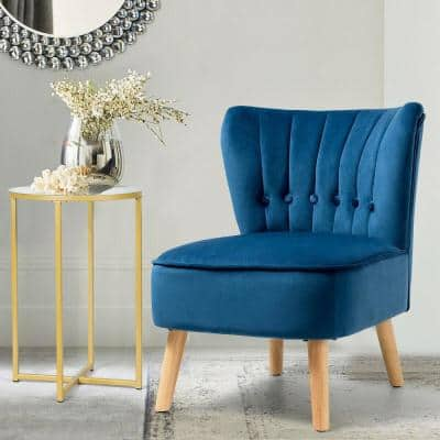 Fashion Armless Accent Chair Modern Tufted Velvet Leisure Chair in Blue