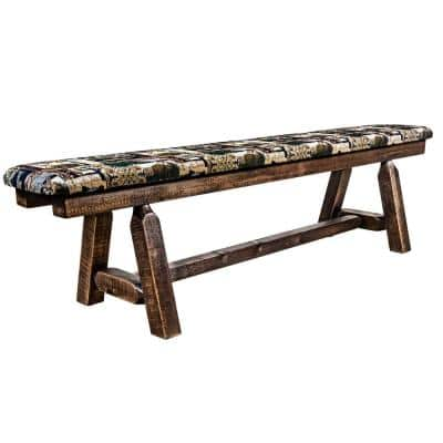 Homestead Collection 18 in. H Brown Wooden Bench with Woodland Pattern Upholstered Seat, 6 ft. Length