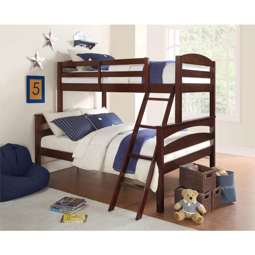 Dorel Living Brady Twin Over Full Espresso Wood Bunk Bed Fa6940e The Home Depot