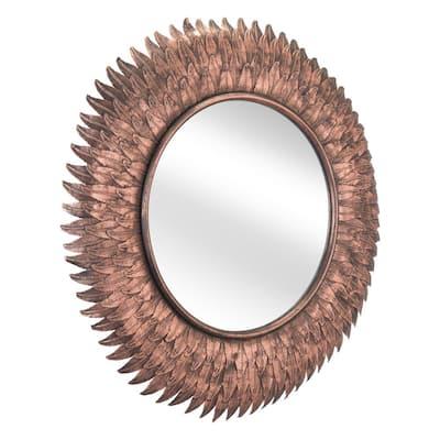Modern Copper Round Steel Accent Mirror 28.7 in. H x 28.7 in. W