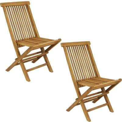 Hyannis Folding Teak Outdoor Patio Chair with Slat Back (2-Chairs)