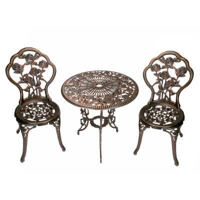 Rose 3-Piece Cast Metal Bistro Set with Cast Aluminum Top Table and 2 Chairs