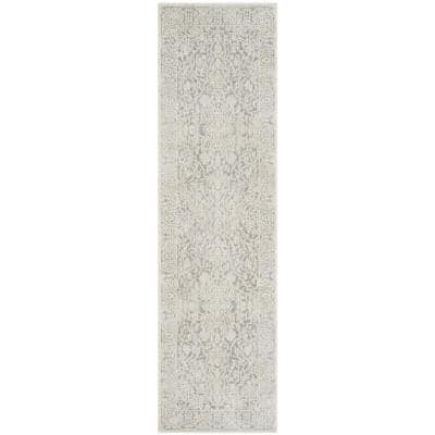Reflection Light Gray/Cream 2 ft. x 10 ft. Distressed Floral Runner Rug