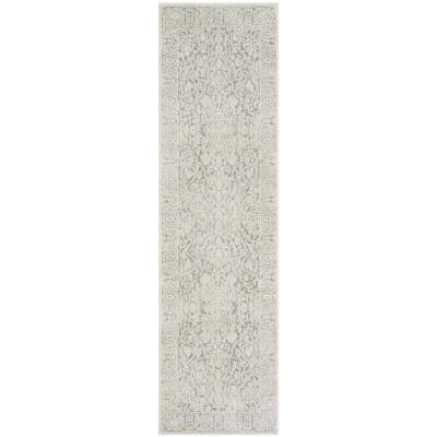 Reflection Light Gray/Cream 2 ft. x 12 ft. Distressed Floral Runner Rug