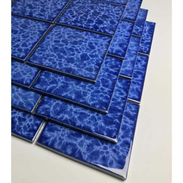 Abolos Monet Blue Mosaic 12 In X 12 In Glazed Porcelain Wall Tile 18 Sq Ft Case Hmdmntpol Bl P The Home Depot