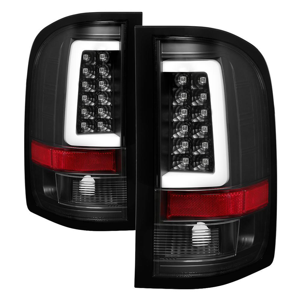 Chevy Silverado 07-13(Doesn't fit 2010 Model With Dual Reverse Socket 921 Bulb)Version 3 Light Bar LED Tail Light-Black