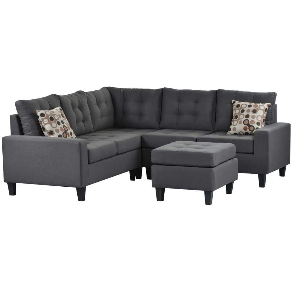 Boyel Living L Shape Sofa 3 Piece Dark Grey Fabric Right Facing Symmetrical Sectionals With Storage Ottoman Bh 039gr The Home Depot