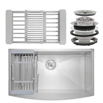 Handmade Farmhouse Stainless Steel 30 in. x 20 in. Single Bowl Kitchen Sink with Drying Rack