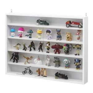 3.75 in. x 31.5 in. x 23.5 in. White Floating Decorative Wall Shelf with Brackets and 4-Adjustable Shelves