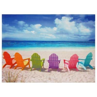 """24 in. x 32 in. """"Beach Chairs"""" Canvas Wall Art"""