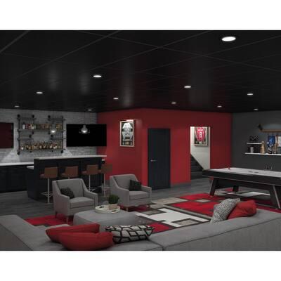 Easy Elegance Textured Black 2 ft. x 4 ft. PVC Square Edge Lay-in Ceiling Tile ( 64 sq. ft. /case)