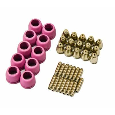 PCON40 Plasma Cutter Consumables 15 Nozzles 15 Electrodes 10 Cups for RED Color LTP5000D, LTPDC2000D, BLUE Color LTP6000